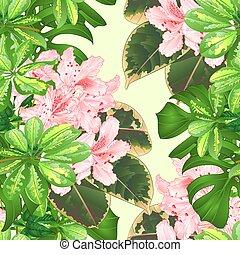 seamless, 手ざわり, 熱帯の花, ツツジ, ライト, ピンク, vector.eps