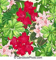 seamless, 手ざわり, 熱帯の花, ライト, ピンクと赤, ツツジ, vector.eps
