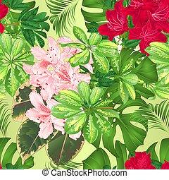 seamless, 手ざわり, 熱帯の花, 赤, そして, ピンク, ツツジ, vector.eps
