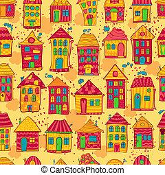 seamless, 模式, 色彩丰富, 房子