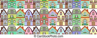 seamless, 模式, 色彩丰富, 村舍, 房子