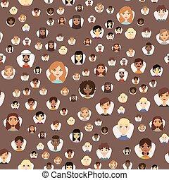 seamless, 模式, avatars, 带, 面部的特性, 不同, 国籍, 衣服, 同时,, 发型, 人们,...