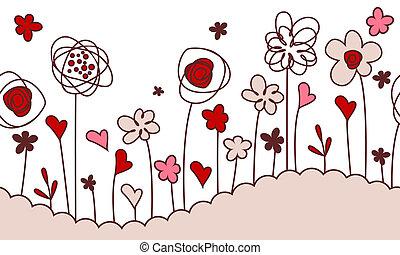 seamless, 横, ボーダー, ∥で∥, 定型, 成長する, 花