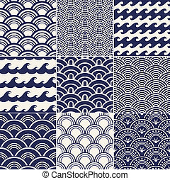 seamless, 海洋 波, パターン