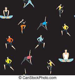 seamless, 漫画, パターン, 衣服, スポーツ, バックグラウンド。, スタイル, 女性, 平ら, イラスト, 服を着せられる