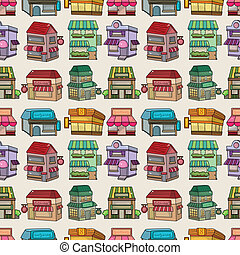 seamless, 漫画, house/shop, パターン