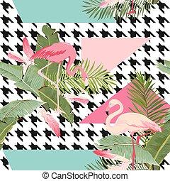seamless, 熱帶的花, 以及, 火烈鳥, 夏天, 几何學圖形, 圖表, 背景, 外來, 植物, 牆紙, 或者,...