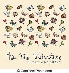 seamless, 甘い, レトロ, パターン, バレンタイン