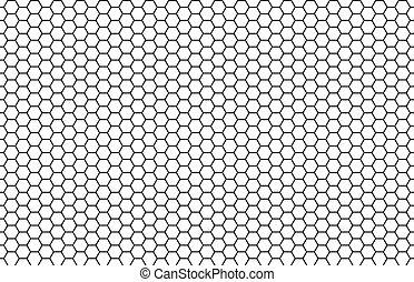 seamless, 白, 黒, 六角形