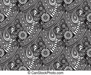 seamless, 矢量, 佩斯利螺旋花紋呢, 牆紙