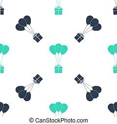 seamless, 緑の白, バックグラウンド。, パターン, ベクトル, 箱, 贈り物, 風船, アイコン, 隔離された