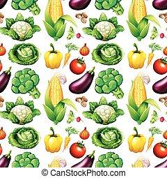 seamless, 背景, 由于, 很多, 蔬菜