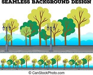 seamless, 背景, 设计, 带, 树, 同时,, 灯