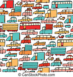 seamless, 自動車, 漫画, パターン