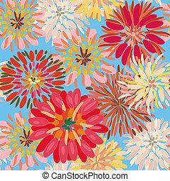 seamless, 花のパターン, ∥で∥, 大きい, ダリア, そして, chryzantemum