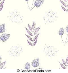seamless, 花園, 彩色蜡筆, 產品, 健康, 織品, 包裝, 紫色, 選擇, 風格, 矢量, 點, 摘要, 健康, 離開, design., 木刻, 文具, 背景。, 圖案, 白色, 偉大