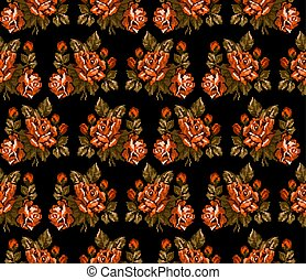 seamless., 花束, 花, pattern., 色