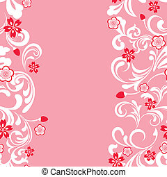 seamless, 花, さくらんぼ, フレーム, ピンク