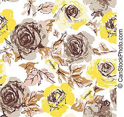 seamless, 花, 上升, 牆紙