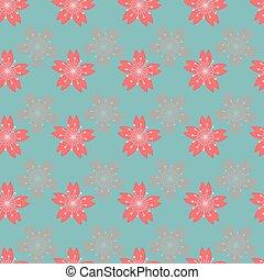 seamless, 花, 抽象的, バックグラウンド。, パターン, さくらんぼ, 美しい