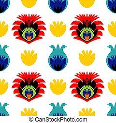 seamless, 花, 背景, 伝統的である, 人々, パターン, タイル, ポーランド語, カラフルである, ベクトル