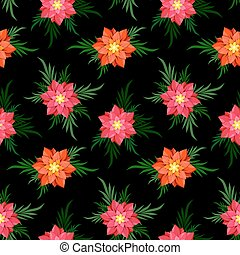 seamless, 花, 背景。, 黑色