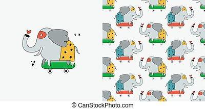 seamless, 象, pattern.