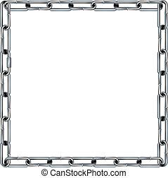 seamless, 金屬 鏈子, 連結, 邊框