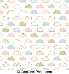 seamless, 雲, 背景 パターン