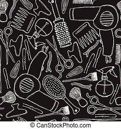 seamless, 黑白色調的模式, 由于, 美容師, tools.