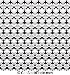 seamless, 黑色 和 白色, 圖案, 由于, 殼