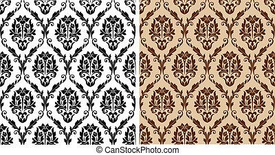 seamless, 꽃의, 다마스크 천, 패턴