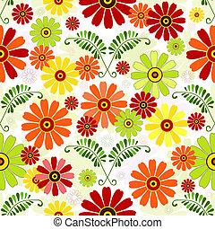 seamless, 꽃의, 백색, 패턴
