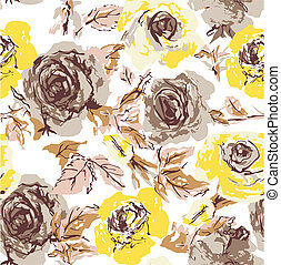 seamless, 꽃, 장미, 벽지