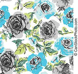 seamless, 꽃, 장미, 패턴