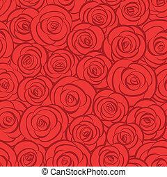 seamless, 떼어내다, 빨간 장미, 배경