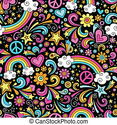 seamless, 무지개, doodles, 패턴