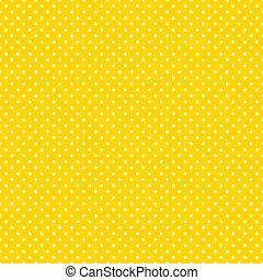 seamless, 물방울 무늬, 밝은, 황색