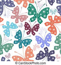 seamless, 백색, 꽃 본, 와, 나비