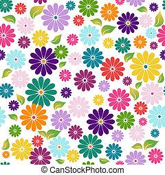 seamless, 백색, 꽃 본