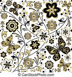 seamless, 백색, 꽃 본, (vector)