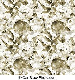 seamless, 벽지, 와, 강포한 꽃
