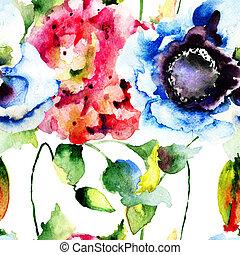seamless, 벽지, 와, 아름다운, 꽃