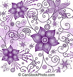 seamless, 봄, white-violet, 패턴