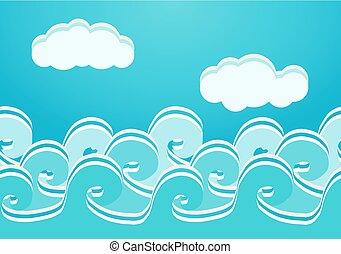 seamless, 삽화, 벡터, 패턴, 바다, 파도