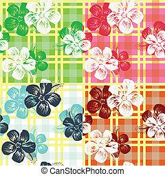 seamless, 열대 꽃, 수표 패턴