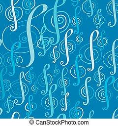 seamless, 음악, 패턴, 와, a, 세 배의 음표 기호