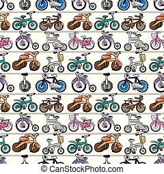 seamless, 자전거, 패턴