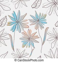 seamless, 직물, 와, 꽃