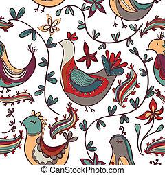 seamless, 직물, 와, 꽃, 와..., 새